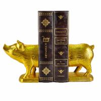 Quality Polyresin Piggy Home Decor Bookends With Gold Gilded Urban Customized Size for sale