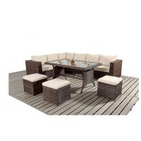 L Shape Ritzy Rattan Sofa Group With Three Stools In Brown Color