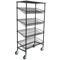 "Quality Supermarket 5 Tier Slanted Wire Shelving / Black Wire Shelf Unit 18"" D X 36"" W for sale"