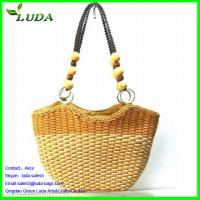 Quality Contrast Color Wheat Straw Clutch Bags w/Beads Handles for sale