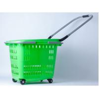 Quality Stackable 4 Wheels Plastic Shopping Basket / Movable Cloth Shopping Trolley On Wheels for sale
