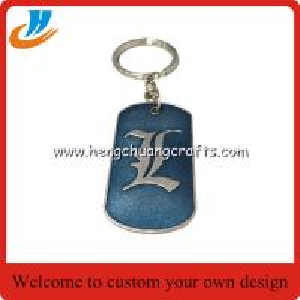 Quality K004 Dog tag metal keychain keyring soft enamel technology with custom design for sale