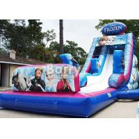 Quality 0.55mm PVC Frozen Inflatable Water Slide With Pool / Giant Amusement Water Park Game for sale