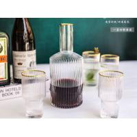 Quality Eco Gold Design On Top Glass Water Cup , Drinking Tea Cup Shot Glass Set for sale