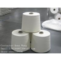 Quality 30/1 polyester spun closed virgin yarn raw white carded yarn for sale