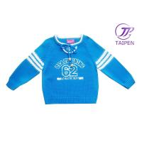 Quality Blue Pure Cotton Warm Holiday Knitting Patterns Kids Sweaters With Long Sleeve for sale