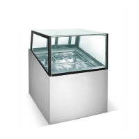 Quality Square Glass Ice Cream Showcase Freezer 20 Pans Fan Cooling Type 1730*1068*1250mm for sale