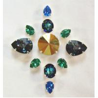 Buy Glass sew on rhinestone with metal part nice sew on glass stone at wholesale prices