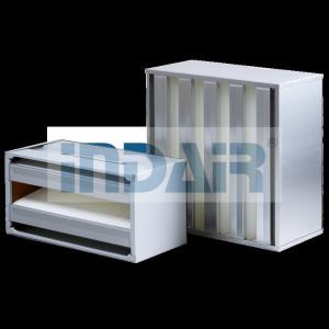 China SS Frame V Bank Air Filter H10 / H13 No Partition Design Long Service Life on sale