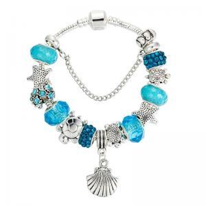 Quality Ocean Series Blue Crystal / Glass DIY Charm Bracelet Like Pandora Style Starfish Shell for sale