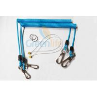 Quality Sky Blue Stopdrop Plastic Coil Lanyard 18CM With Zinc Alloy Hooks for sale