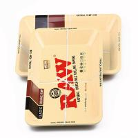 Quality RAW Small Size 180*125*15mm Tobacco Rolling Metal Tray Hand Roller Tobacco Grinder Smoking Accessories Cigarettes tools for sale