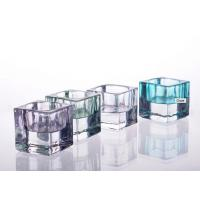 Quality Glass Tealight Candle Holder For Decoration , Soda Lime Glass Square Candle Holder for sale