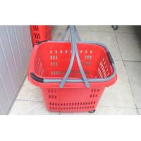 Quality Commercial Plastic Rolling Shopping Basket With Wheels / Shopping Trolley Cart for sale
