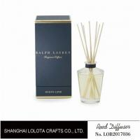 Buy Clear Round Bottle Glass Reed Diffuser With Blue Rigid Gift Box Packaging at wholesale prices