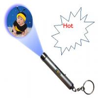 China super bright Custom print logo Flashlight Led Projector Keychain For Promotion Gift on sale