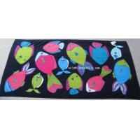 China 100% cotton printed beach towel , velour , 100x180cm , gsm450 on sale