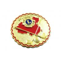 Quality Brass stamped with soft enamel ,plating gold size 25mm dia , with butterfly clutch for sale