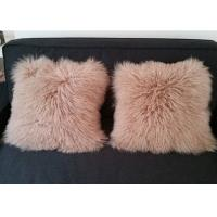 Home Fluffy Genuine Mongolian Fur Pillow Ultra Soft With Rectangular Square Shape