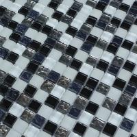 China 300x300mm mosaic glass tile sheets,glass mosaic bathroom tiles,black &grey & blue color mixed on sale