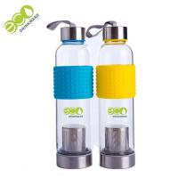 Quality Safety 600ml Single Wall Water Bottle , Glass Tea Tumbler With Infuser for sale