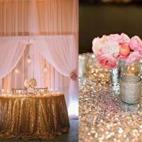 Quality Champagne Round Sequin Tablecloth Round Shape Abrasion Resistant for sale