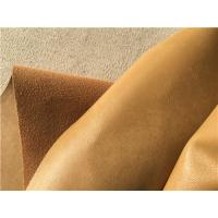 Quality Ocher Wrinkle Bonded Leather Fabric For Upholstery , Leather Furniture Fabric for sale