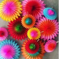 Buy Multicolor Paper Flower Fan Suit Inside Or Outside Door Decorations at wholesale prices