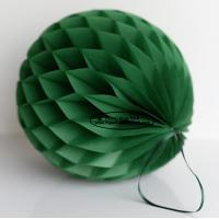 Quality Dark Green Tissue Paper Honeycomb Balls Pom Poms With Satin Ribbon Loop for sale