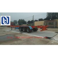 Quality Yellow 3 Axles Low Bed Semi Trailer Trucks / 20T 30T Manual side tipper Truck Trailer Howo for sale