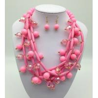 Quality Fashion Exporting designs Acrylic Bead African Beads Jewelry Set Multi layer Necklace And Earring Set for sale
