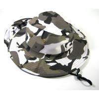 Quality Black / White 100% Cotton Bucket Hat With Nylon Strings / Printed Embroidered Patterns for sale