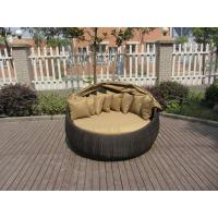 Quality Outdoor Rattan Daybed , Hand-Woven All Weather Round Sun Bed for sale