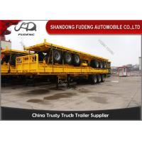 China 20 Ft 40 Ft Container Flatbed Tractor Semi Trailer With Front Board on sale