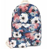Quality Fashion Lightweight Travel Backpack School Bag With Wallet Peony Printed for sale