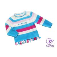 Quality Colorful Stripe Round Neck Knitting Patterns Kids Sweaters, Cotton Baby Girl Sweater Dress for sale