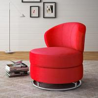 Red Round Swivel Living Room Chair Karstud With Stainless Steel Base