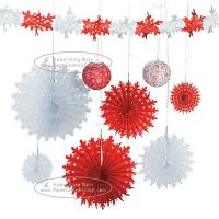 Quality Christmas Snowflake Paper Fan Round Folding Fans Hanging Party Home Decorations for sale