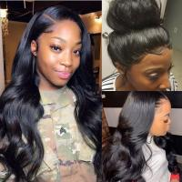 Quality 360 Lace Frontal Wigs Brazilian Human Hair Extensions Body Wave Natural Color for sale