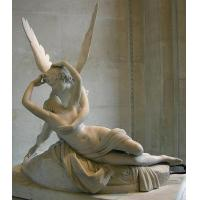 China white marble Cupid and Psyche sculpture on sale