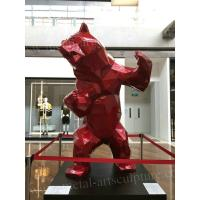 China Red Color Fiberglass Bear Statue / Life Size Resin Statues For Museum Decoration on sale