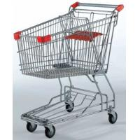Quality Galvanized Supermarket Shopping Cart 2 Tiers Grocery Store Baskets On Wheels for sale