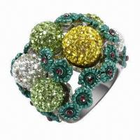 Quality Silver Ring with Crystals, Available in Rhodium, Gold, Rose Gold, and Other Platings for sale