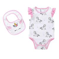 Quality Unicorn Print 100% Cotton Baby Short Bodysuit With Flutter Sleeve For Summer for sale