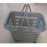 Quality Stackable Rolling Plastic Hand Shopping Basket / Grocery Basket With Wheels for sale