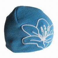 Quality Winter beanie hat with embroidery design for ladies for sale