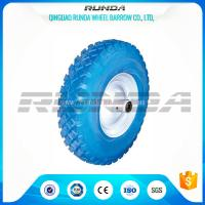 Quality Blocky Pattern Foam Filled Tires Plastic Rim 150kg Loading No Floor Damages for sale