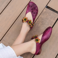 Quality S004 2020 spring and summer new leather hollow flower velcro women's shoes round toe ethnic style handmade single shoes for sale