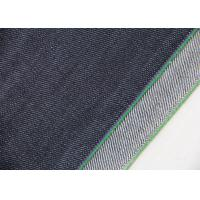 China 14.7oz Dark Blue Stretch Denim Fabric Green Line For Women ' S Selvedge Jeans on sale