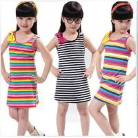 Quality Summer Strip Girl Dress(6-15 year children clothes) for sale